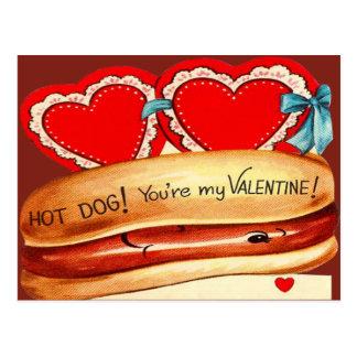 Vintage Retro Hot Dog Valentine Card Postcard
