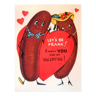 Vintage Retro Hot Dog Valentine Postcard