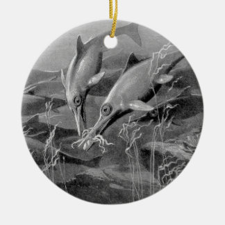 Vintage retro ichthyosaur black and white picture christmas ornament