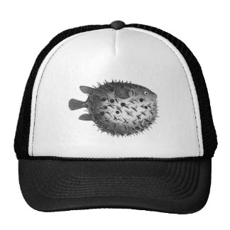 Vintage Retro Illustration Pufferfish Mesh Hat