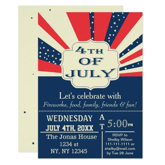 Vintage Retro July 4th Holiday party Invitation