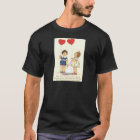 Vintage Retro Kids Heart Balloons Valentine Card T-Shirt
