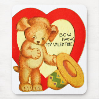 Vintage Retro Kids Valentine Bow Wow Puppy Mouse Pad