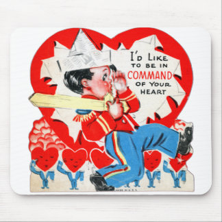Vintage Retro Kids Valentine Command Your Heart Mouse Pad