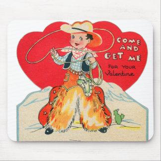 Vintage Retro Kids Valentine Cowboy Come & Get Me Mouse Pad