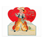 Vintage Retro Kids Valentine Cowboy Come & Get Me Postcard