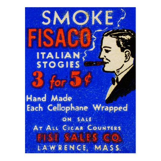 Vintage Retro Kitsch 30s Match Art Fiasco Cigars Postcard
