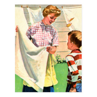 Vintage Retro Kitsch 40s Advert Art Laundry Wash Postcard