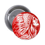 Vintage Retro Kitsch 40s Travel Indian Chief Head 6 Cm Round Badge
