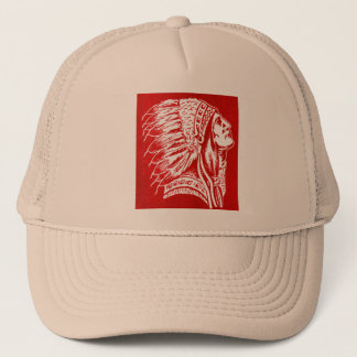 Vintage Retro Kitsch 40s Travel Indian Chief Head Trucker Hat