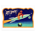 Vintage Retro Kitsch 50s Atomic Rocket to The Star Post Card