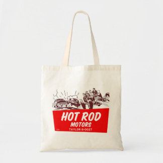 Vintage Retro Kitsch 50s Hot Rod Motors Budget Tote Bag