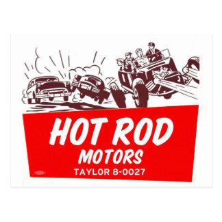 Vintage Retro Kitsch 50s Hot Rod Motors Postcard
