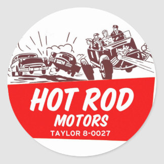 Vintage Retro Kitsch 50s Hot Rod Motors Round Sticker