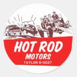 Vintage Retro Kitsch 50s Hot Rod Motors Round Sticker