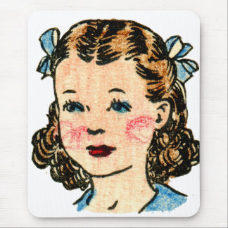 Vintage Retro Kitsch 50s Kids Coloring Book Girl Mousepads