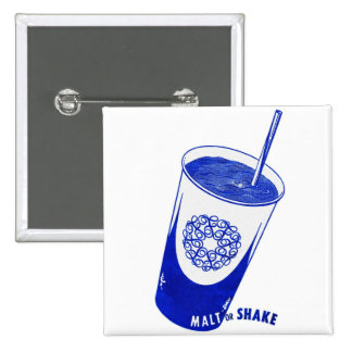 Vintage Retro Kitsch 50s Malt or Shake Cup 15 Cm Square Badge