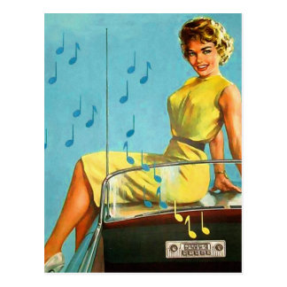 Vintage Retro Kitsch 50s Rock and Roll Radio Postcard