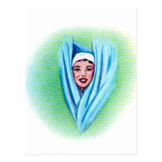 Vintage Retro Kitsch 50s Suburbs Shower Head Girl Postcard