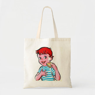 Vintage Retro Kitsch Ad Kid Grilled Cheese Budget Tote Bag