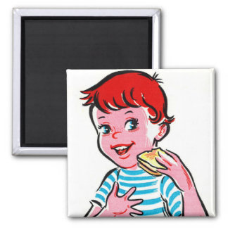 Vintage Retro Kitsch Ad Kid Grilled Cheese Square Magnet