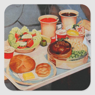 Vintage Retro Kitsch Airplane 60s Airline Food Square Sticker