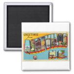 Vintage Retro Kitsch Asheville Big Letter Postcard Square Magnet