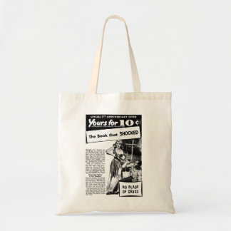 Vintage Retro Kitsch Bad Ad The Book That Shocked! Budget Tote Bag