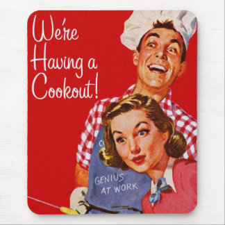 Vintage Retro Kitsch BBQ Barbecue Having a Cookout Mouse Pad