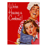 Vintage Retro Kitsch BBQ Barbecue Having a Cookout Postcards