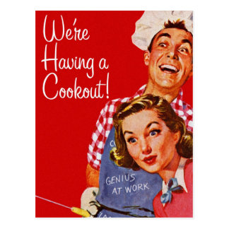 Vintage Retro Kitsch BBQ Barbecue Having a Cookout Postcard