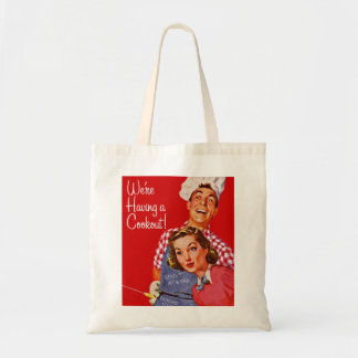 Vintage Retro Kitsch BBQ Barbecue Having a Cookout Tote Bag