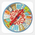 Vintage Retro Kitsch Board Game Spinning Wheel Square Sticker