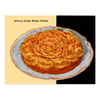 Vintage Retro Kitsch Cake Apple Rose Form Postcard