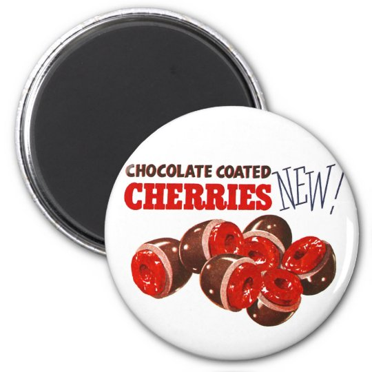 Vintage Retro Kitsch Chocolate Covered Cherries 6 Cm Round Magnet