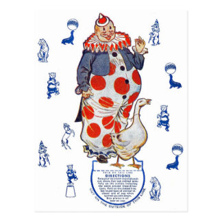 Vintage Retro Kitsch Cut-Out Paper Clown Postcard