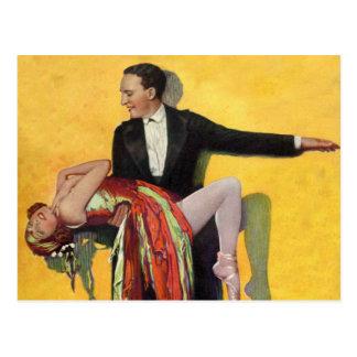 Vintage Retro Kitsch Deco Dancers Dancing Postcard