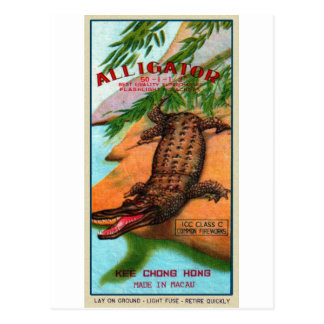 Vintage Retro Kitsch Firecracker Alligator Brand Postcard