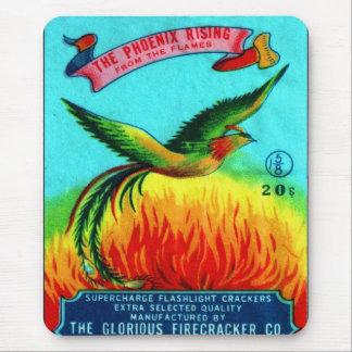 Vintage Retro Kitsch Firecracker Phoenix Rising Mouse Mat