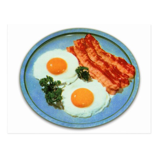 'Vintage Retro Kitsch Food Bacon And Eggs Postcard