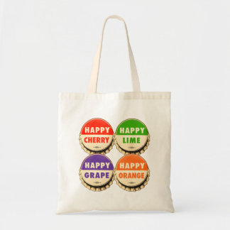 Vintage Retro Kitsch Happy Soda Pop Caps Budget Tote Bag