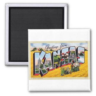 Vintage Retro Kitsch Kansas Big Letter Postcard Magnet