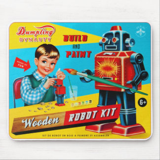 Vintage Retro Kitsch Kids Toy Wooden Robot Kit Mouse Mat