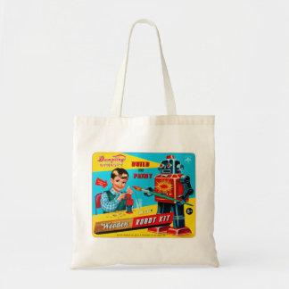 Vintage Retro Kitsch Kids Toy Wooden Robot Kit Tote Bag