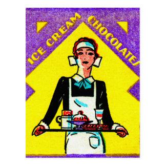 Vintage Retro Kitsch Match Art 30s Deco Waitress Postcard