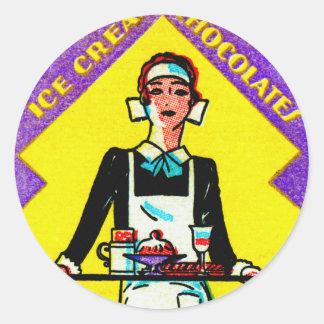 Vintage Retro Kitsch Match Art 30s Deco Waitress Round Sticker