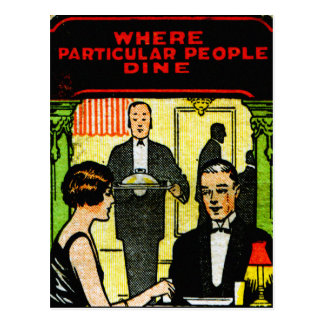 Vintage Retro Kitsch Match Art 30s Dinner Dining Postcard