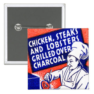 Vintage Retro Kitsch Matchbook Chef Lobsters Steak 15 Cm Square Badge
