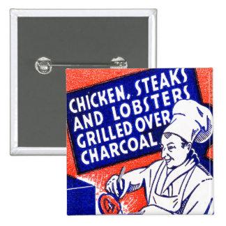 Vintage Retro Kitsch Matchbook Chef Lobsters Steak 15 Cm Square Badge