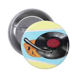Vintage Retro Kitsch Phonograph Record Player 6 Cm Round Badge
